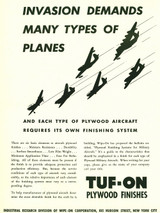 "TUF-ON Plywood Finishes ""Invasion Demands"" Vintage Poster"