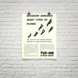 "TUF-ON Plywood Finishes ""Invasion Demands"" Vintage Poster Mockup Art Display"