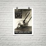 """Aircraft Hardware Manufacturing Co. """"Go Get 'Em America"""" Vintage Poster Mockup Art Display"""