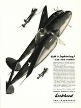 "P-38 Lockheed Lightning ""Call it Lightning"" Vintage Military Aircraft Airplane Poster Mockup Art Display"