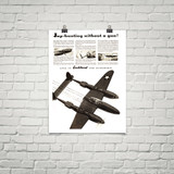 """P-38 Lockheed Lightning """"Hunting without a gun"""" Vintage Military Aircraft Airplane Poster"""