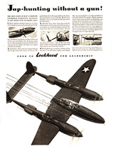 "P-38 Lockheed Lightning ""Hunting without a gun"" Vintage Military Aircraft Airplane Poster Mockup Art Display"