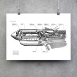 Curtiss P-40 Engine Cutaway Poster