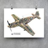 P-51C Mustang Cutaway Vintage Military  Aircraft Poster