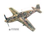 P-51C Mustang Cutaway Vintage Military  Aircraft Poster Mockup Art Display