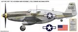 "P-51C Mustang ""Miss Revenge"" Aircraft Profile Print Wall Art Decal"