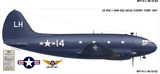 Curtiss C-46 Commando Aircraft Profile Print Wall Art Decal