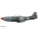 "P-51D Mustang  RAF ""The Shark"" Decorative Military Aircraft Profile Print Wall Art Decal"
