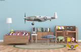 "P-51C Mustang ""Evalina"" Shark Mouth Decorative Military Aircraft Profile Print Wall Art Decal"