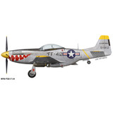 """F-51D Mustang """"Butchie"""" Shark Mouth Decorative Military Aircraft Profile Print Wall Art Decal"""