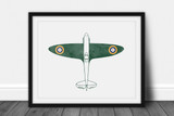 Spitfire Watercolor Print - Digital Art Download