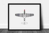P-51 Mustang Watercolor Print - Digital Art Download