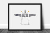 P-38 Lightning Watercolor Print - Digital Art Download