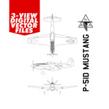 Airplane Vector Art - P-51D Mustang Digital Artwork Blueprint Three-View Profile  - 6 File Pack