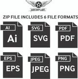 Airplane Vector Art - P-51D Mustang Digital Artwork Blueprint Three-View Profile  - 6 File Pack