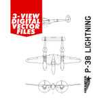 Airplane Vector Art - P-38 Lightning Digital Artwork Blueprint Three-View Profile  - 6 File Pack