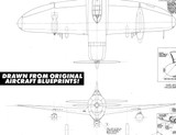 Airplane Vector Art - P-47D Thunderbolt Digital Artwork Blueprint Three-View Profile  - 6 File Pack
