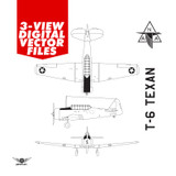 Airplane Vector Art - T-6 Texan Digital Artwork Blueprint Three-View Profile  - 6 File Pack
