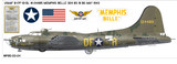 "Boeing B-17 Flying Fortress ""Memphis Belle"" Aircraft Profile Wall Art Decal"