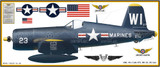 F4U-4 Vought Corsair Military Aircraft Profile Print Wall Art Decal