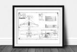 P-40 Warhawk Vintage Plane Blueprint Poster DWG#87-517