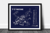P-51 Mustang Vintage Blueprint Poster DWG#106-00004