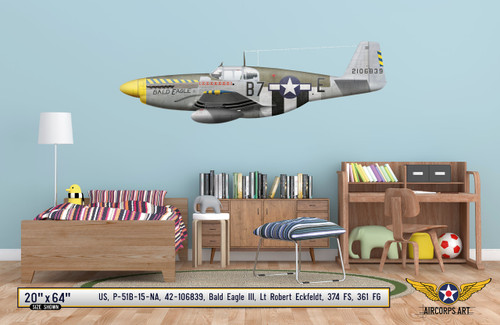 "P-51B Mustang ""Bald Eagle III"" Profile Print Decal on Kids Room Wall Mockup Display"