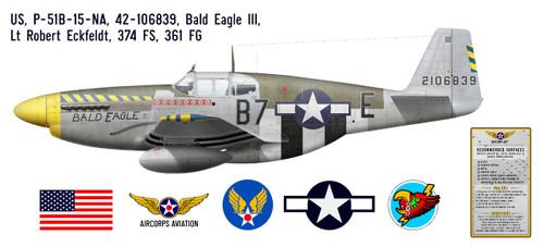 "P-51B Mustang ""Bald Eagle III"" Decorative Military Aircraft Profile Print Wall Art Decal"