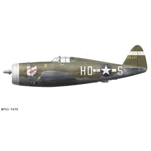 "P-47D Thunderbolt ""Queen City Mama"" Decorative Military Aircraft Profile Print Wall Art Decal"