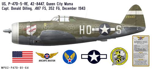 """P-47D Thunderbolt """"Queen City Mama"""" Decorative Vinyl Decal"""