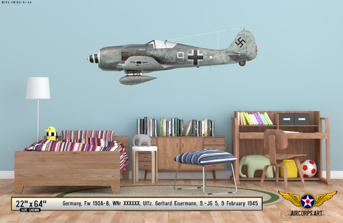 Fw 190A-8 Decorative Military Aircraft Profile on Kids Room Wall Mockup Display