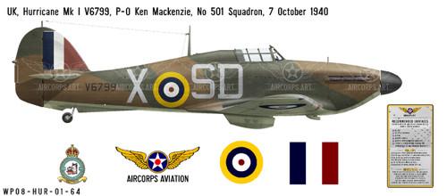 Hawker Hurricane Mk I Decorative Military Aircraft Profile Print Wall Art Decal