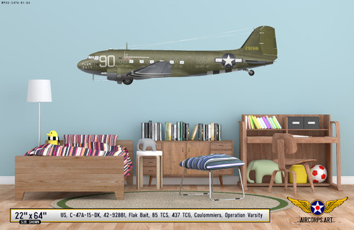 "C-47A Dakota ""Flak Bait"" Decorative Military Aircraft Profile on Kids Room Wall Mockup Display"