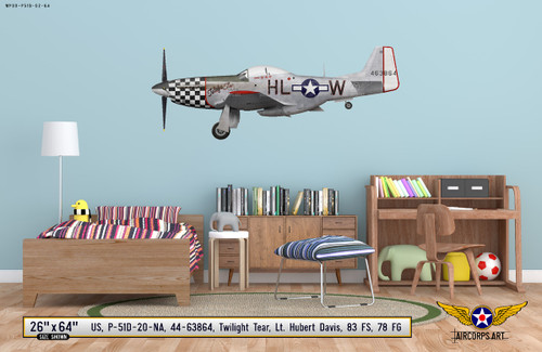 "P-51D Mustang ""Twilight Tear"" Decorative Military Aircraft Profile Wall Mockup Display"