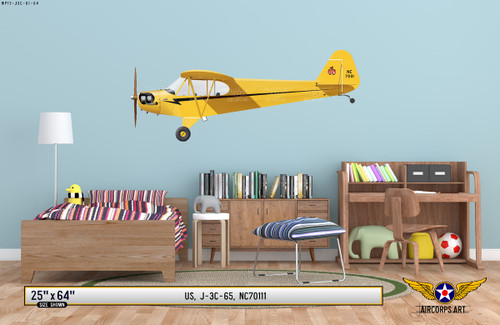 J-3 Piper Cub Decorative Aircraft Profile on Kids Room Wall Mockup Display