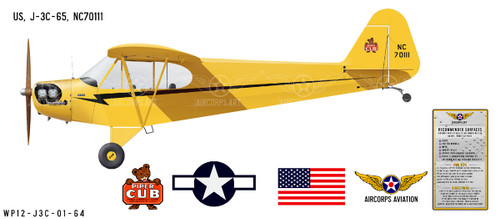 J-3 Piper Cub Decorative  Aircraft Profile Print Wall Art Decal