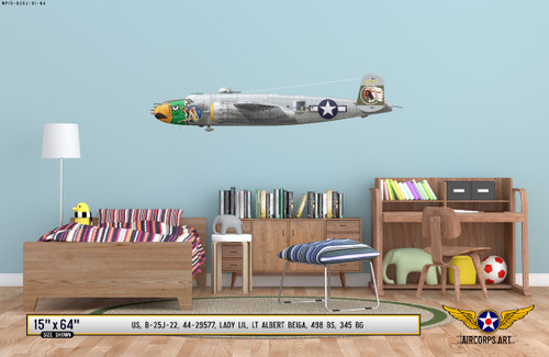 "B-25J Mitchell ""Lady Lil"" Decorative Military Aircraft Profile on Kids Room Wall Mockup Display"
