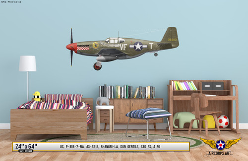 "P-51B Mustang ""Shangri-La"" Decorative Military Aircraft Profile on Kids Room Wall Mockup Display"