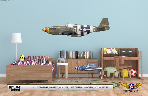 "P-51B Mustang ""Old Crow"" Decorative Military Aircraft Profile on Kids Room Wall Mockup Display"
