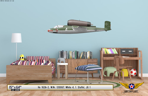 He 162A-2 Salamander Decorative Military Aircraft Profile on Kids Room Wall Mockup Display