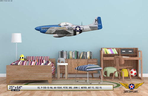 "P-51D Mustang ""Petie 3rd"" Decorative Military Aircraft Profile on Kids Room Wall Mockup Display"
