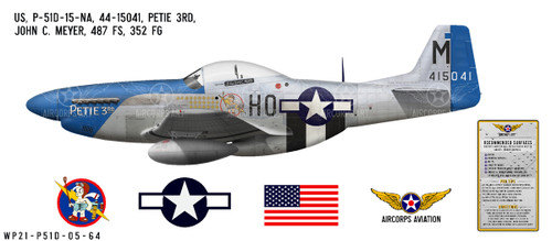 "P-51D Mustang ""Petie 3rd"" Decorative Vinyl Decal"