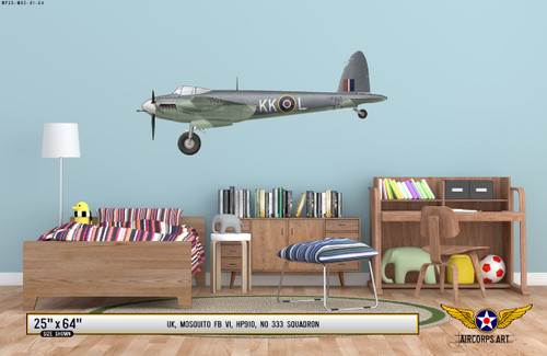 Mosquito FB VI Decorative Military Aircraft Profile Print on Kids Room Wall Mockup Display