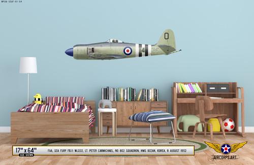 Sea Fury FB.11 Decorative Military Aircraft Profile on Kids Room Wall Mockup Display