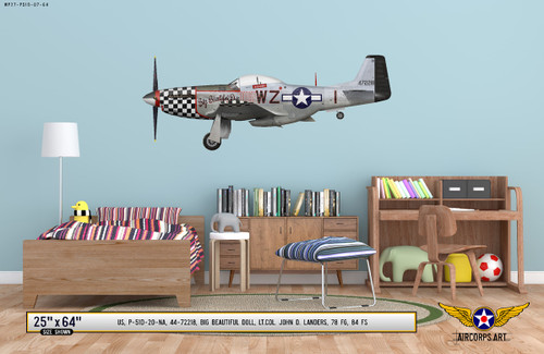 "P-51D Mustang ""Big Beautiful Doll"" Decorative Military Aircraft Profile on Kids Room Wall Mockup Display"