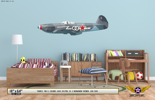 YAK-3 Aircraft Decorative Military Aircraft Profile Print  on Kids Room Wall Mockup Display