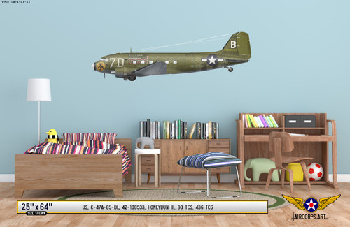 "C-47A Dakota ""Honeybun III"" Decorative Military Aircraft Profile on Kids Room Wall Mockup Display"