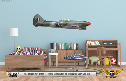 Hawker Tempest Mk V Decorative Military Aircraft Profile on Kids Room Wall Mockup Display