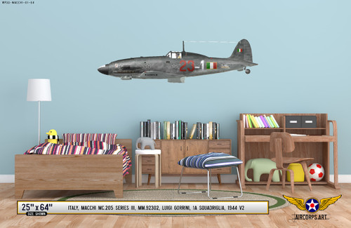 MC.205 Veltro Decorative Military Aircraft Profile on Kids Room Wall Mockup Display