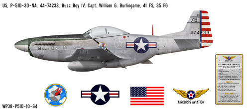 "P-51D Mustang ""Buzz Boy"" Decorative Vinyl Decal"